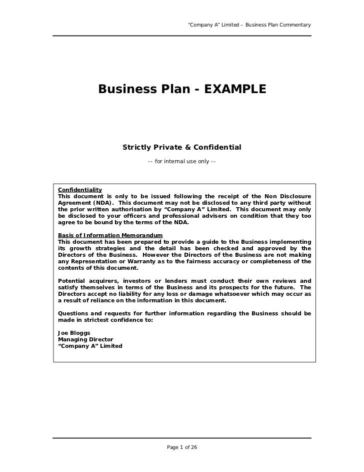 U201cCompany Au201d Limited U2013 Business Plan Commentary Business Plan   EXAMPLE ...