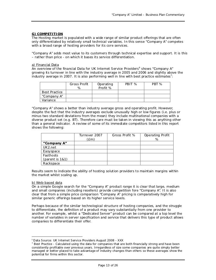 Business plan sample great example for anyone writing a business pl page 12 of 26 13 company a limited business plan wajeb