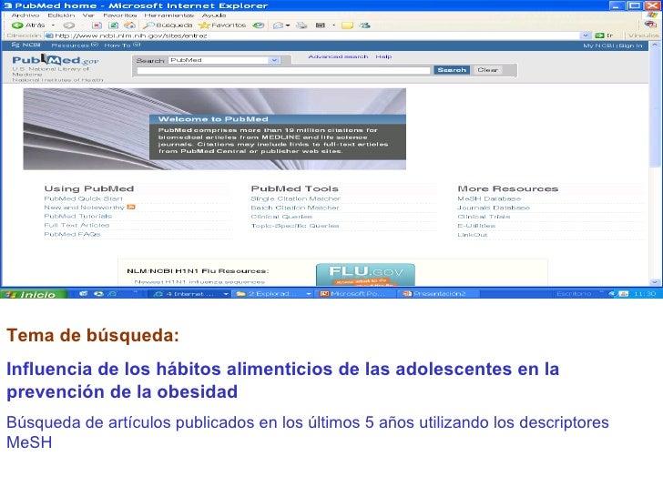 Tema de búsqueda:  Influencia de los hábitos alimenticios de las adolescentes en la prevención de la obesidad Búsqueda de ...