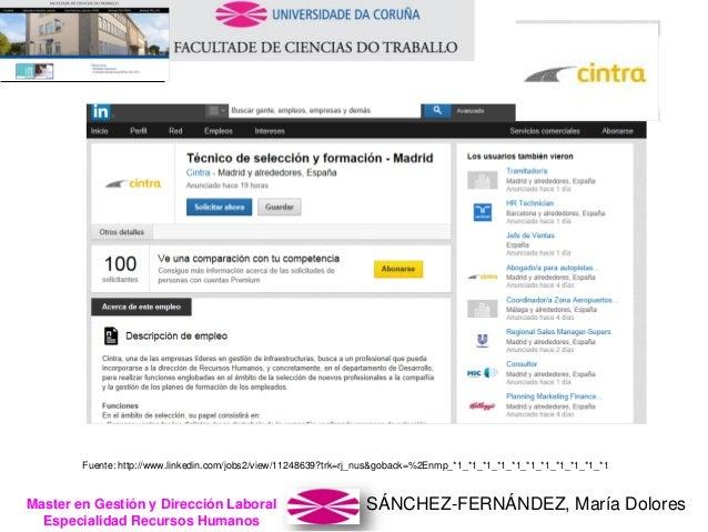 SÁNCHEZ-FERNÁNDEZ, María DoloresMaster en Gestión y Dirección Laboral Especialidad Recursos Humanos Fuente: http://www.lin...
