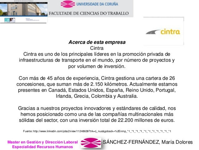 SÁNCHEZ-FERNÁNDEZ, María DoloresMaster en Gestión y Dirección Laboral Especialidad Recursos Humanos Acerca de esta empresa...