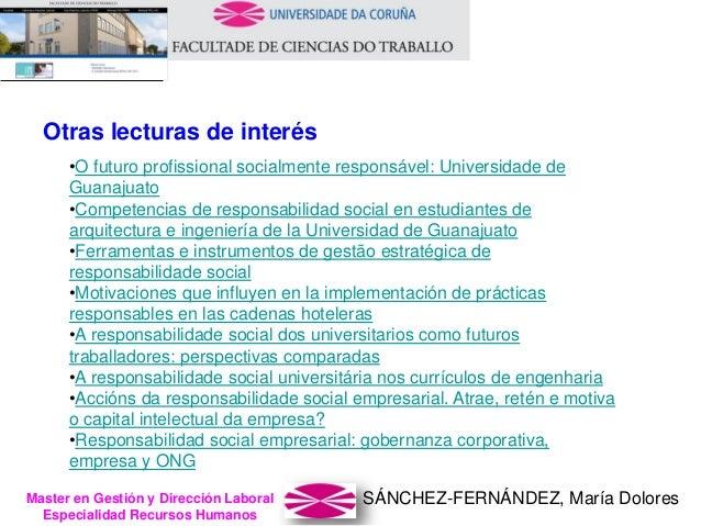 SÁNCHEZ-FERNÁNDEZ, María DoloresMaster en Gestión y Dirección Laboral Especialidad Recursos Humanos Otras lecturas de inte...