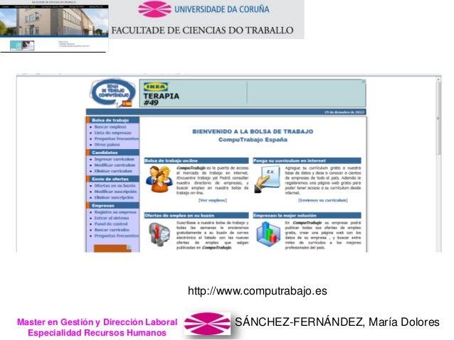 SÁNCHEZ-FERNÁNDEZ, María DoloresMaster en Gestión y Dirección Laboral Especialidad Recursos Humanos http://www.computrabaj...
