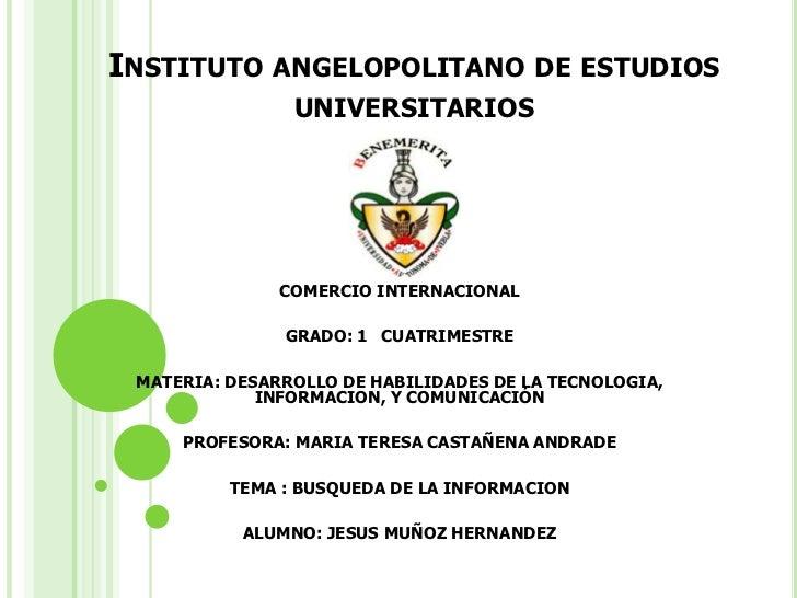 INSTITUTO ANGELOPOLITANO DE ESTUDIOS                UNIVERSITARIOS               COMERCIO INTERNACIONAL               GRAD...
