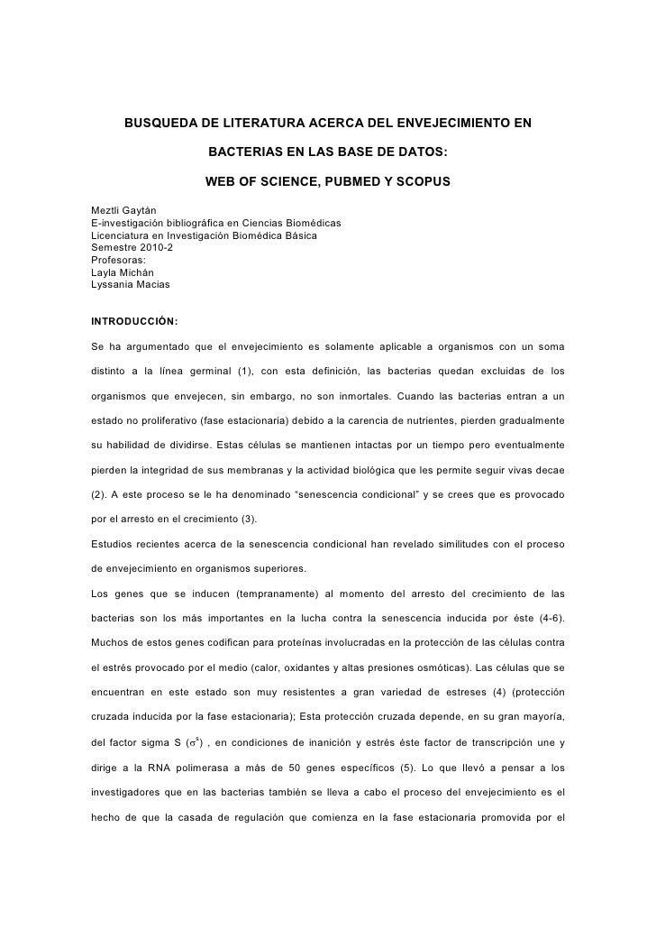 BUSQUEDA DE LITERATURA ACERCA DEL ENVEJECIMIENTO EN                             BACTERIAS EN LAS BASE DE DATOS:           ...
