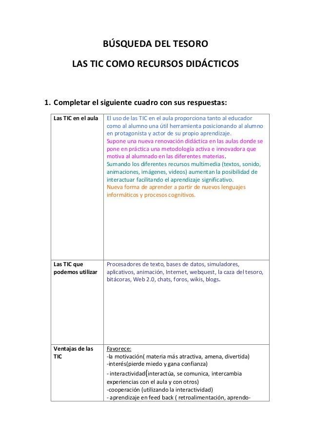 BÚSQUEDA DEL TESORO LAS TIC COMO RECURSOS DIDÁCTICOS 1. Completar el siguiente cuadro con sus respuestas: Las TIC en el au...