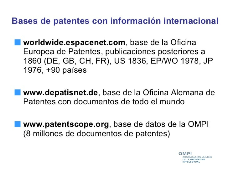 Busquedas en bases de datos de patentes taller ompi inpi for Oficina de patentes