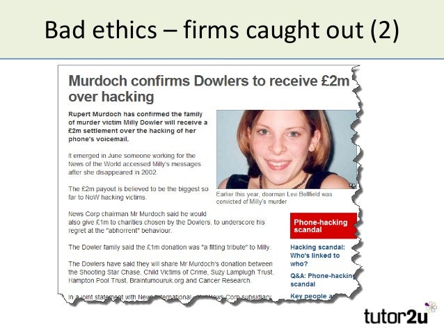 Bad ethics – firms caught out (2)