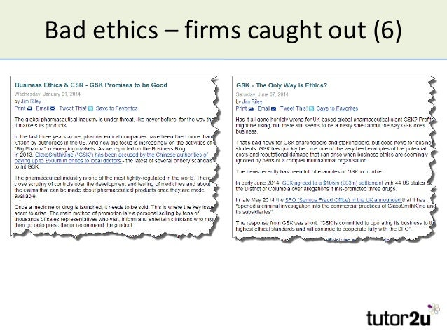 Bad ethics – firms caught out (6)