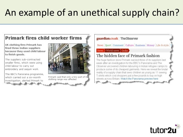An example of an unethical supply chain?