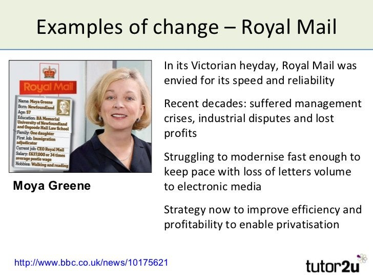 Examples of change – Royal Mail                                In its Victorian heyday, Royal Mail was                    ...