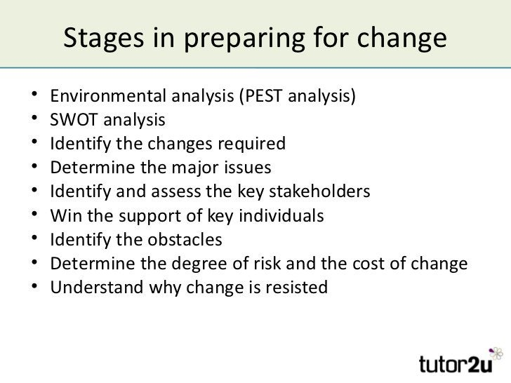 Stages in preparing for change•   Environmental analysis (PEST analysis)•   SWOT analysis•   Identify the changes required...