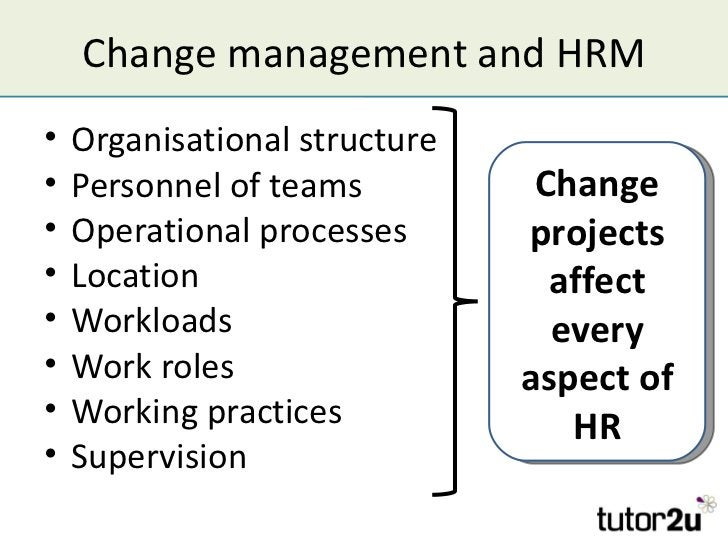 Change management and HRM•   Organisational structure•   Personnel of teams          Change•   Operational processes      ...