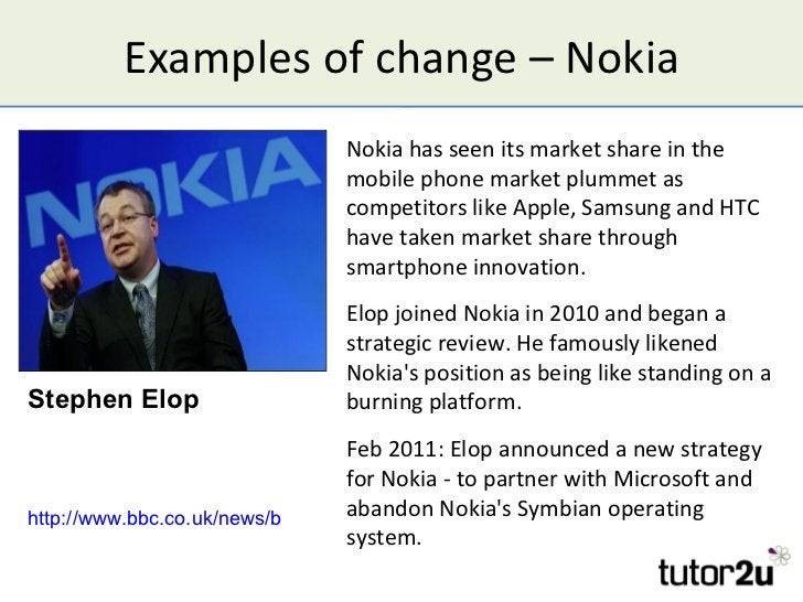 Examples of change – Nokia                                Nokia has seen its market share in the                          ...