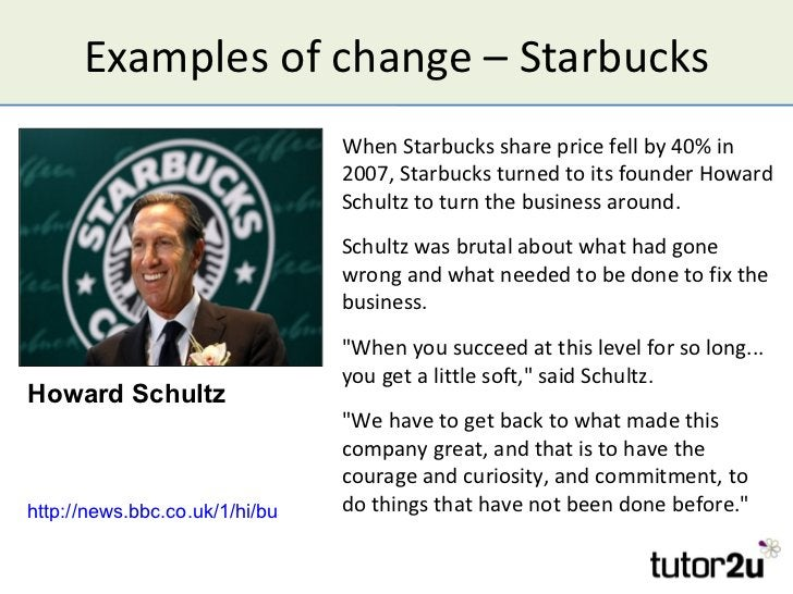 Examples of change – Starbucks                                 When Starbucks share price fell by 40% in                  ...