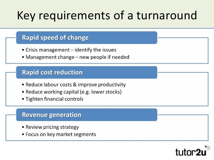 Key requirements of a turnaround