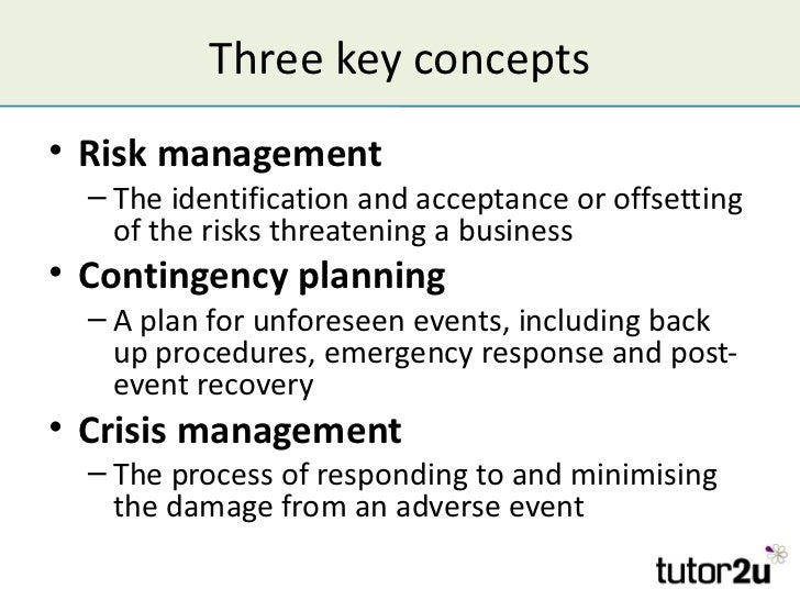 Managing Risk and Contingency Planning – Sample Business Contingency Plan