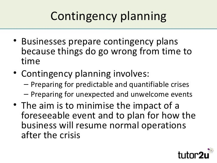 Managing Risk and Contingency Planning – Contingency Plan Examples