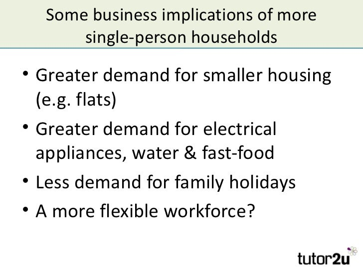Some business implications of more      single-person households• Greater demand for smaller housing  (e.g. flats)• Greate...