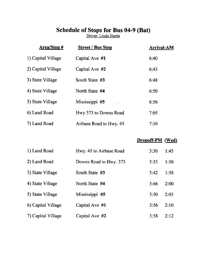 On-Base Bus schedule for LCSD