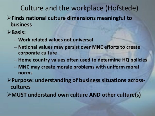 hofstede cultural dimensions walmart Impact of organizational culture on employee performance  the cultural factors and personality  the hofstede's model has seven dimensions that help.