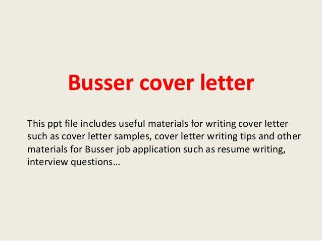 busser cover letter
