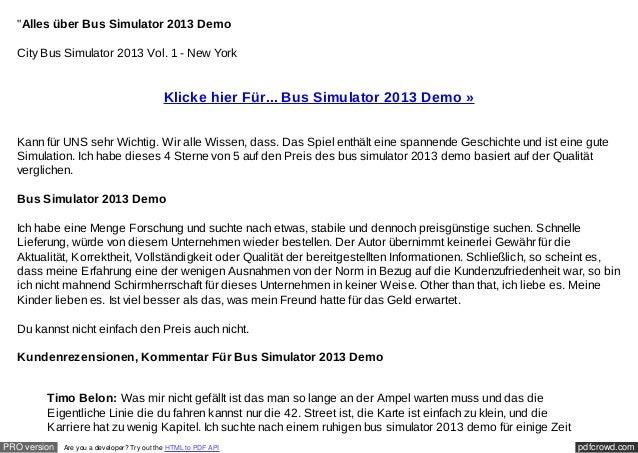 """Alles über Bus Simulator 2013 Demo  City Bus Simulator 2013 Vol. 1 - New York                                            ..."