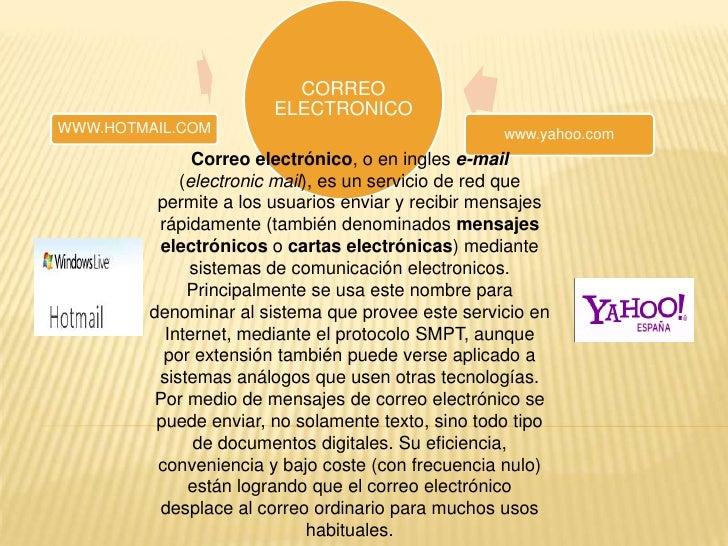 Correo electrónico, o en ingles e-mail (electronic mail), es un servicio de red que permite a los usuarios enviar y recibi...