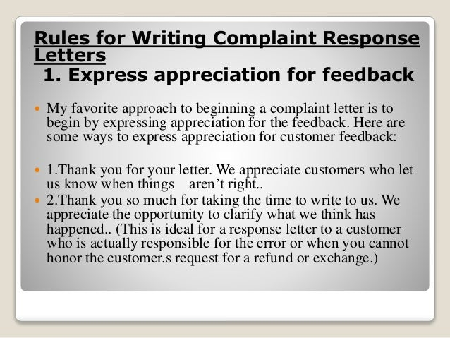 RESPONSE TO COMPLAIN LETTER