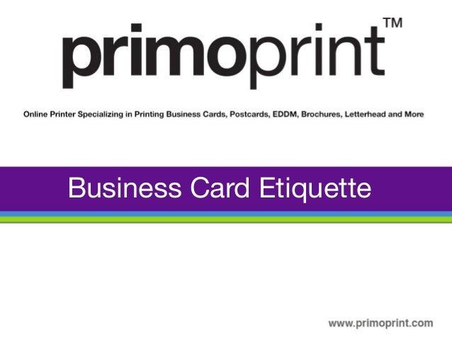 Business Card Etiquette