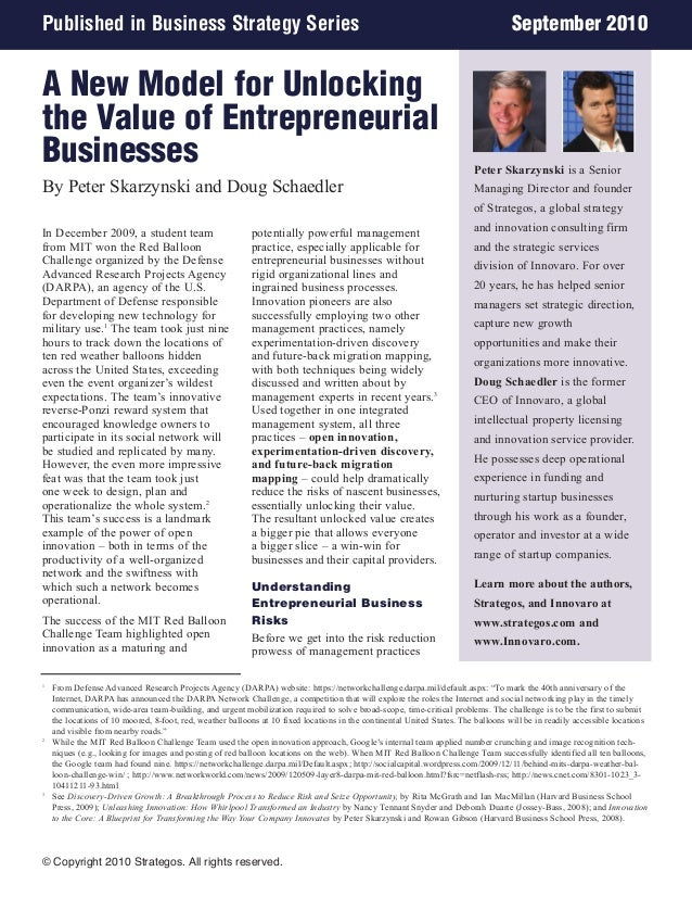 Published in Business Strategy Series  September 2010  A New Model for Unlocking the Value of Entrepreneurial Businesses B...