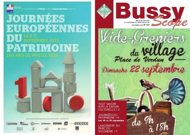 TOUT SAVOIR SUR LA SAISON CULTURELLE > 2 JOURNÉES DU PATRIMOINE > 4 Les 14 et 15 septembre LANCEMENT DU PARC DU SYCOMORE >...