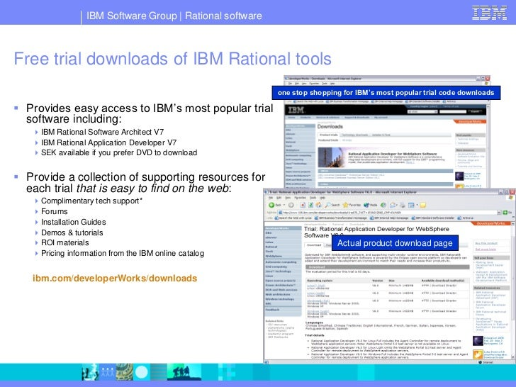 IBM Software Group   Rational software    Free trial downloads of IBM Rational tools                                      ...