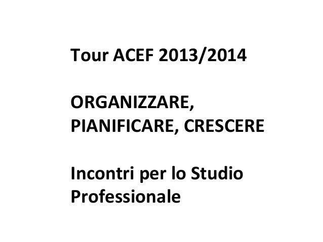 Tour ACEF 2013/2014 ORGANIZZARE, PIANIFICARE, CRESCERE Incontri per lo Studio Professionale Tour ACEF 2013/2014 – Organizz...