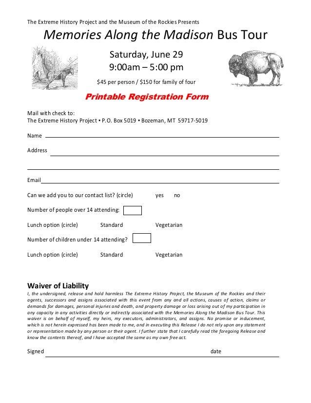 Memories Along The Madison Bus Tour Printable Registration