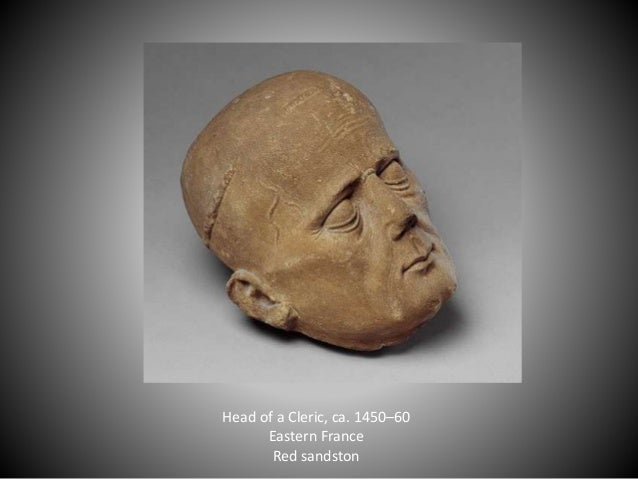 Head of a Cleric, ca. 1450–60 Eastern France Red sandston