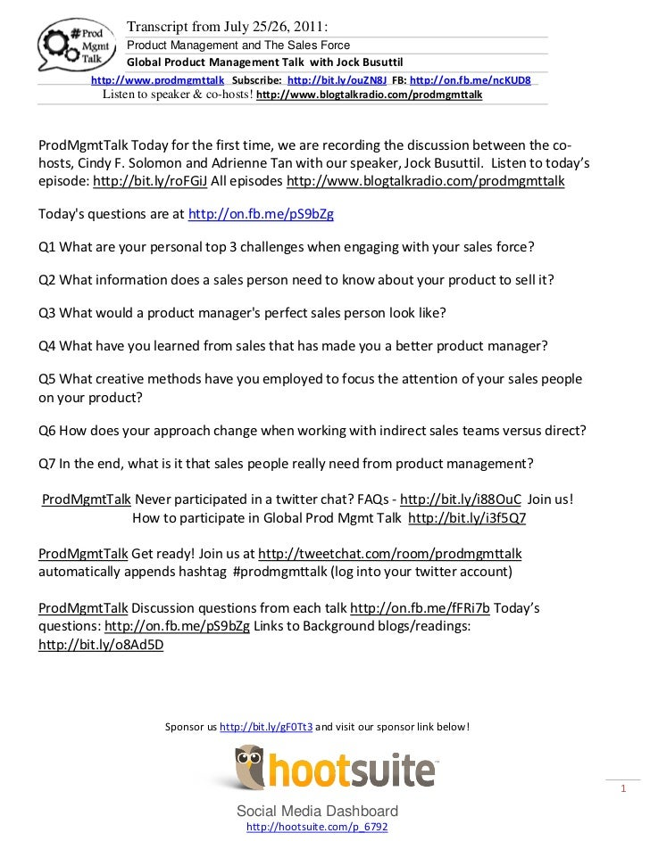 Transcript from July 25/26, 2011:              Product Management and The Sales Force              Global Product Manageme...