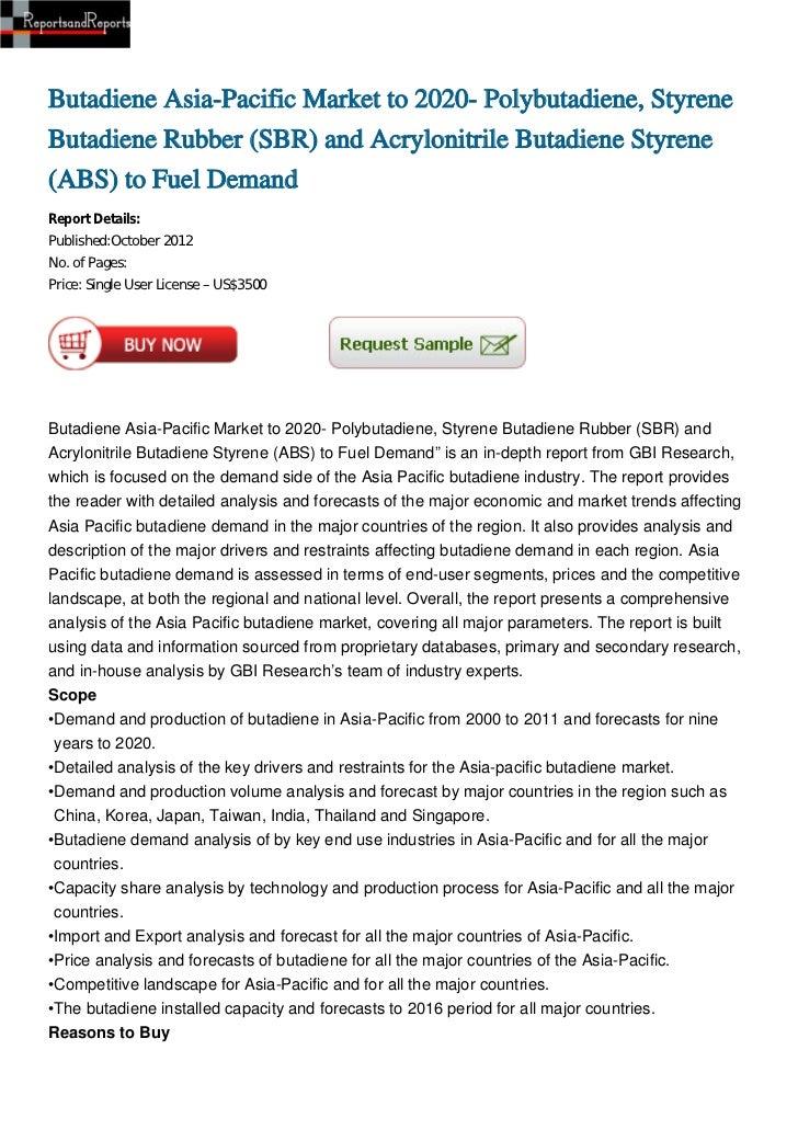 Butadiene Asia-Pacific Market to 2020- Polybutadiene, StyreneButadiene Rubber (SBR) and Acrylonitrile Butadiene Styrene(AB...
