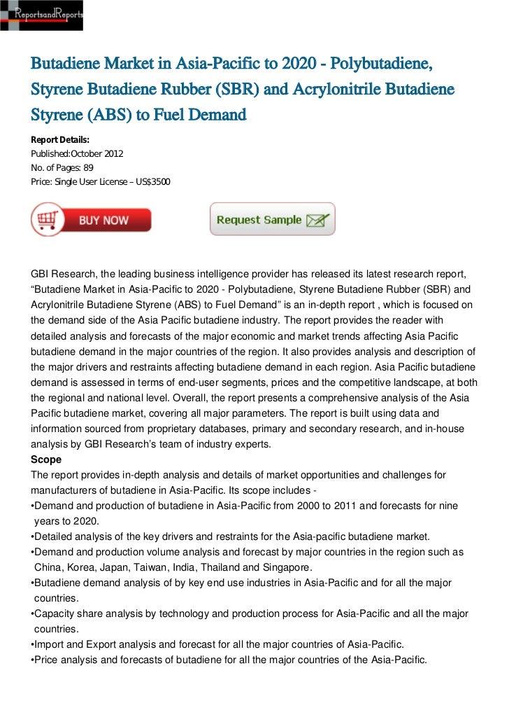 Butadiene Market in Asia-Pacific to 2020 - Polybutadiene,Styrene Butadiene Rubber (SBR) and Acrylonitrile ButadieneStyrene...