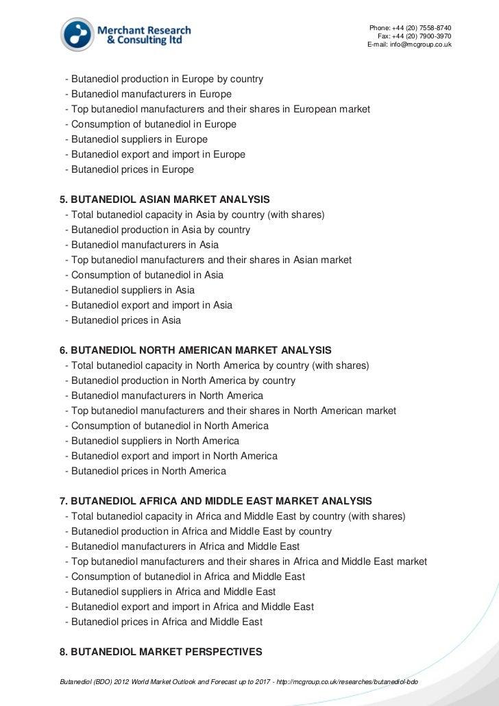 Butanediol (bdo) 2012 world market outlook and forecast up