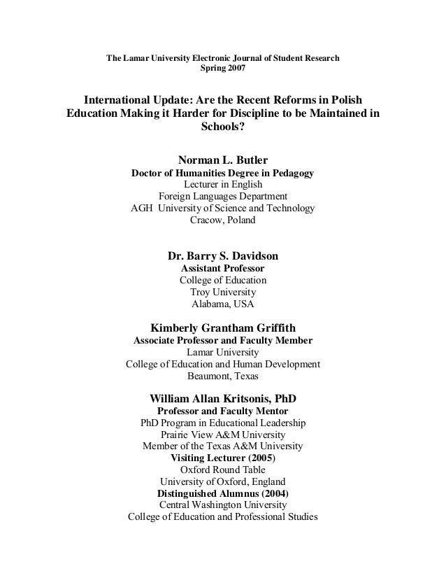 The Lamar University Electronic Journal of Student Research Spring 2007 International Update: Are the Recent Reforms in Po...