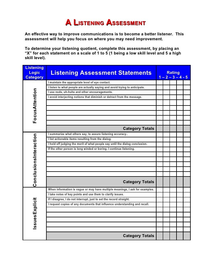 A LISTENING ASSESSMENT An effective way to improve communications is to become a better listener. This assessment will hel...