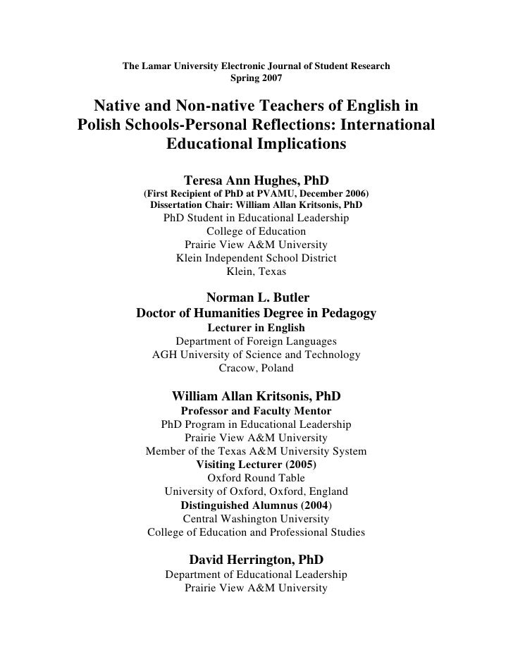 The Lamar University Electronic Journal of Student Research                              Spring 2007    Native and Non-nat...