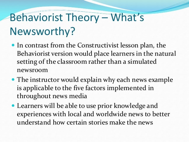 behaviorist lesson plan Lesson plan: teacher perspectives student perspectives essential readings other lessons essential readings from behaviorist to constructivist teaching.