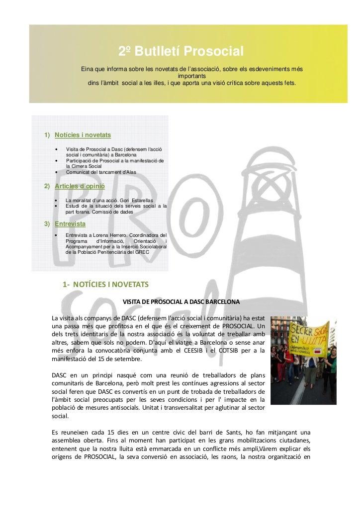 2º Butlletí Prosocial             Eina que informa sobre les novetats de l'associació, sobre els esdeveniments més        ...
