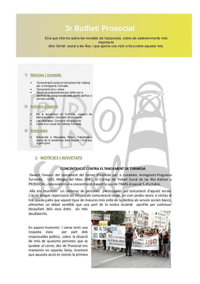 3r Butlletí Prosocial              Eina que informa sobre les novetats de l'associació, sobre els esdeveniments més       ...