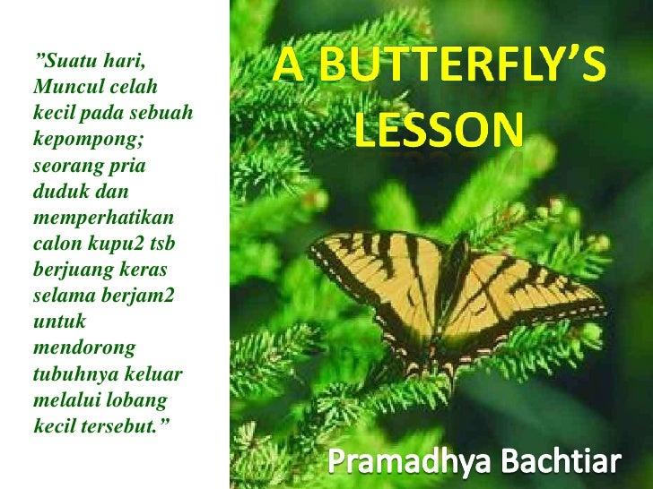 """A Butterfly's<br />lesson<br />""""Suatu hari, Muncul celah kecil pada sebuah kepompong; seorang pria duduk dan memperhatikan..."""