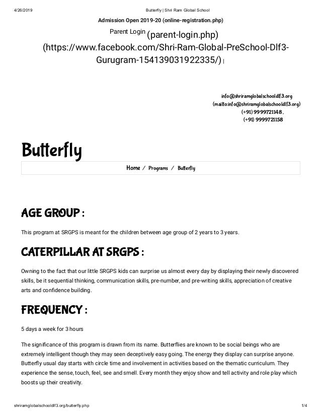 4/26/2019 Butterfly | Shri Ram Global School shriramglobalschooldlf3.org/butterfly.php 1/4 Admission Open 2019-20 (online-...