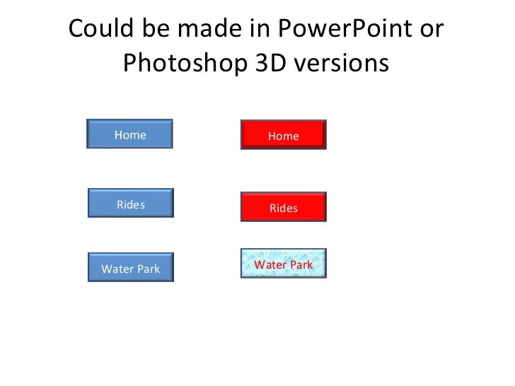 Could be made in PowerPoint or Photoshop 3D versions Home Rides Water Park Rides Water Park