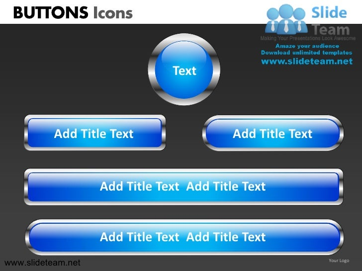 BUTTONS Icons                                Text           Add Title Text                  Add Title Text                ...